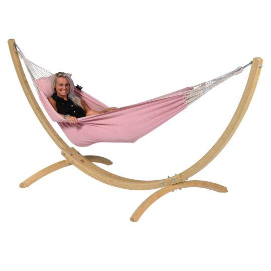 Ställning med Hängmatta 1 Person Wood & Natural Pink