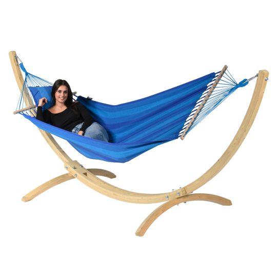 Ställning med Hängmatta 1 Person Wood & Relax Blue