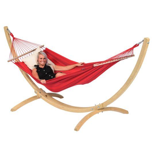 Ställning med Hängmatta 1 Person Wood & Relax Red