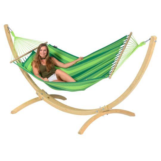 Ställning med Hängmatta 1 Person Wood & Relax Green